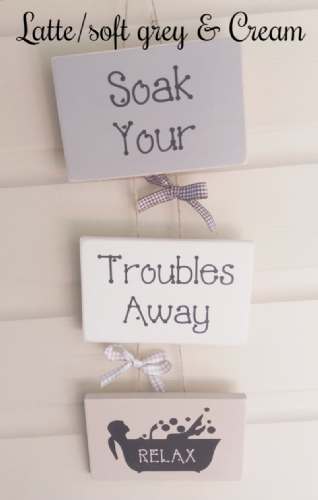 Three Tier Quirky Wooden Bathroom Sign